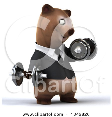 Clipart of a 3d Happy Brown Business Bear Working Out, Facing Slightly Right, Doing Bicep Curls with Dumbbells - Royalty Free Illustration by Julos