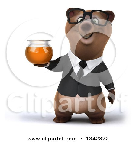 Clipart of a 3d Bespectacled Brown Business Bear Holding a Honey Jar - Royalty Free Illustration by Julos