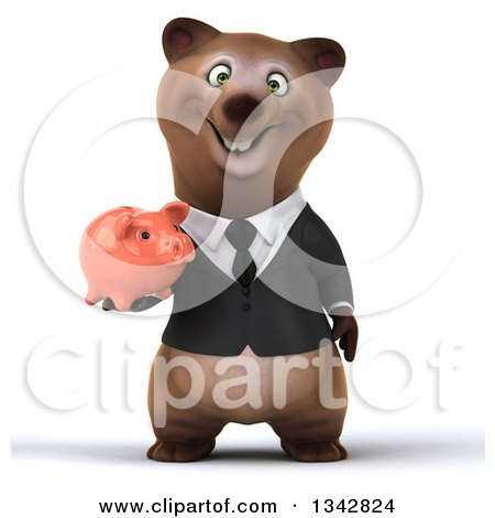 Clipart of a 3d Happy Brown Business Bear Holding a Piggy Bank - Royalty Free Illustration by Julos