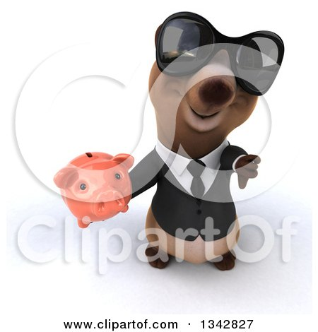 Clipart of a 3d Brown Business Bear Wearing Sunglasses, Holding up a Thumb down and a Piggy Bank - Royalty Free Illustration by Julos