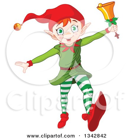 Clipart of a Happy White Male Christmas Elf Running with a Bell - Royalty Free Vector Illustration by Pushkin