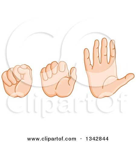 Clipart of a Caucasian Hand Shown in Fist, Partially Closed and Open - Royalty Free Vector Illustration by yayayoyo