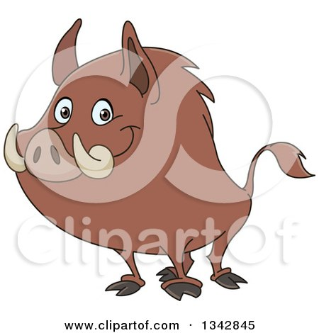 Clipart Of A Cartoon Happy Wild Boar Facing Left And Smiling Royalty Free Vector Illustration