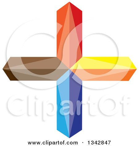 Clipart of a 3d Colorful Cross - Royalty Free Vector Illustration by ColorMagic