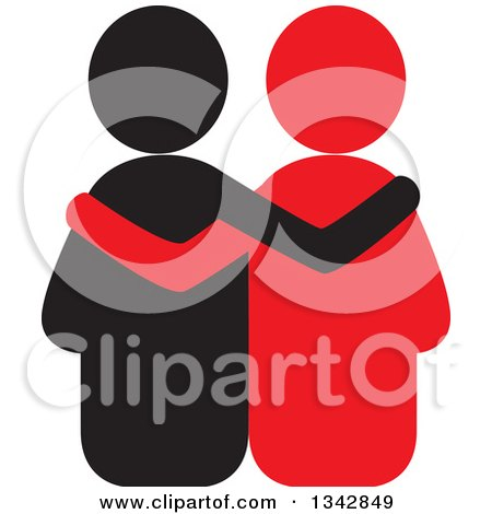 Clipart of a Black and Red Couple Embracing - Royalty Free Vector Illustration by ColorMagic