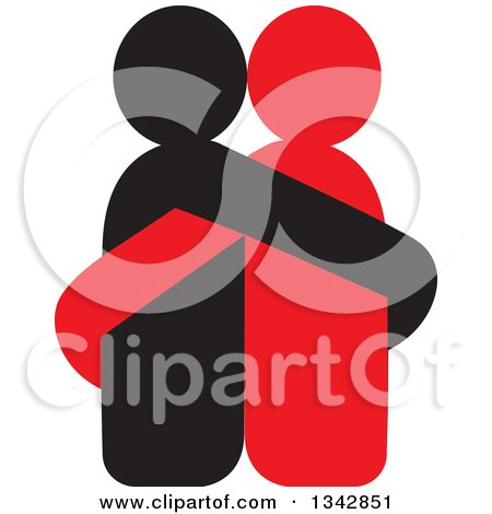 Clipart of a Red and Black Couple Hugging - Royalty Free Vector Illustration by ColorMagic