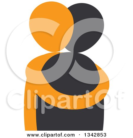 Clipart of a Black and Orange Couple Hugging - Royalty Free Vector Illustration by ColorMagic