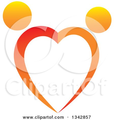 Clipart of a Gradient Orange Couple Dancing and Forming a Heart - Royalty Free Vector Illustration by ColorMagic