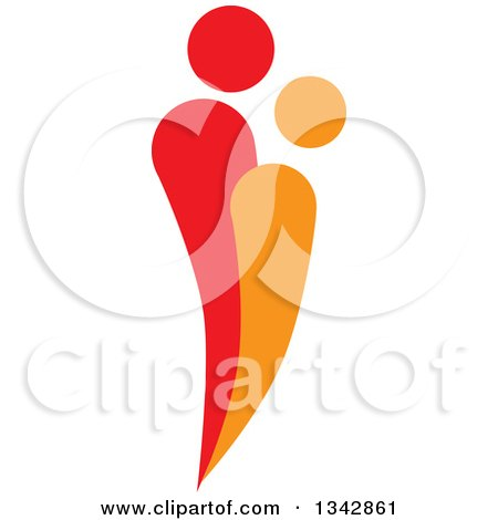 Clipart of a Red and Orange Abstract Couple Spooning 2 - Royalty Free Vector Illustration by ColorMagic