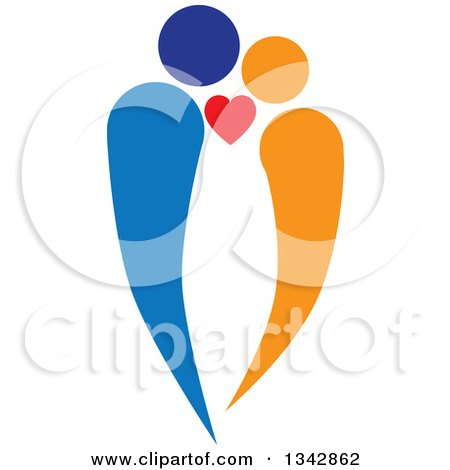 Clipart of a Blue and Orange Abstract Couple in Love - Royalty Free Vector Illustration by ColorMagic