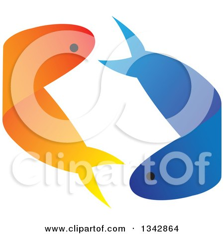 Clipart of Blue and Gold Fish Courting and Swimming Together - Royalty Free Vector Illustration by ColorMagic
