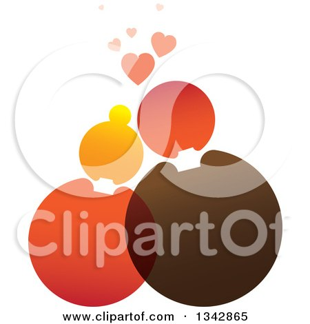 Clipart of a Cuddling Couple Made of Circles Under Hearts - Royalty Free Vector Illustration by ColorMagic