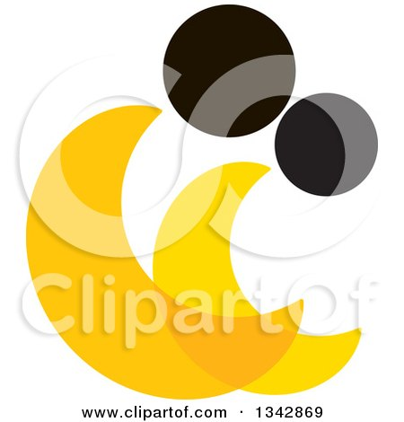 Clipart of an Abstract Yellow and Black Couple Spooning - Royalty Free Vector Illustration by ColorMagic