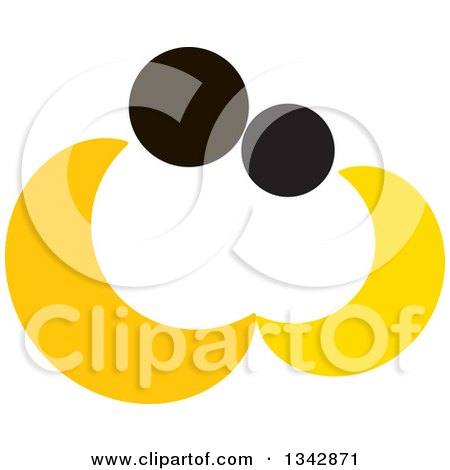 Clipart of an Abstract Yellow and Black Couple Embracing - Royalty Free Vector Illustration by ColorMagic