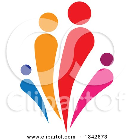 Clipart of a Colorful Abstract Family 5 - Royalty Free Vector Illustration by ColorMagic