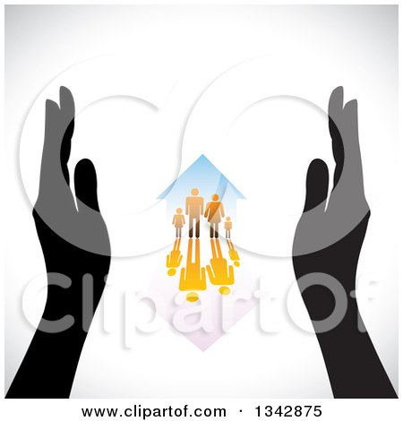 Clipart of a Pair of Black Hands Framing a Gradient Orange Family and Home with a Reflection over Shading - Royalty Free Vector Illustration by ColorMagic
