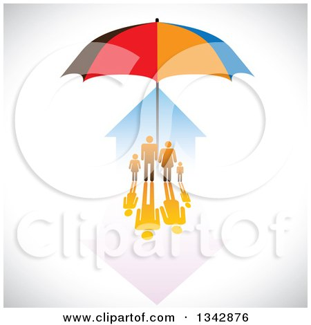 Clipart of a Family and House Sheltered Under an Umbrella over Shading - Royalty Free Vector Illustration by ColorMagic