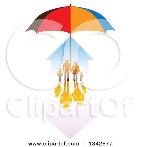Clipart of a Family and House Sheltered Under an Umbrella - Royalty Free Vector Illustration by ColorMagic