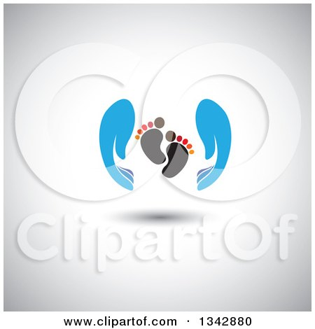 Clipart of Blue Parent Hands Around Baby Foot Prints, over Shading - Royalty Free Vector Illustration by ColorMagic