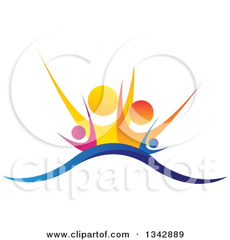 Clipart of a Colorful Happy Family Cheering over a Wave - Royalty Free Vector Illustration by ColorMagic