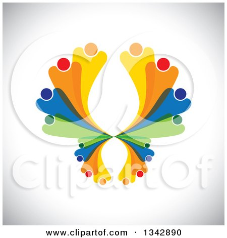 Clipart of a Colorful Abstract Family or Team Forming a Butterfly over Shading - Royalty Free Vector Illustration by ColorMagic