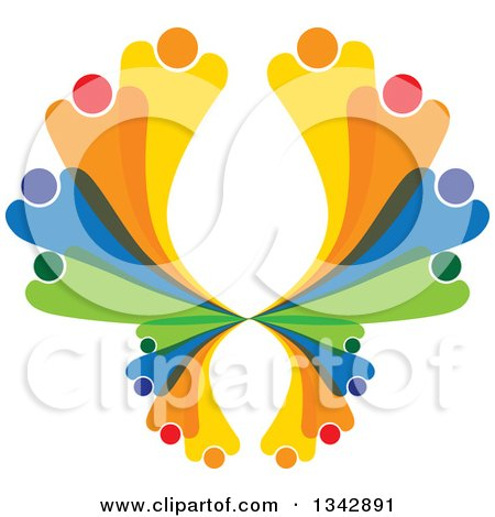 Clipart of a Colorful Abstract Family or Team Forming a Butterfly - Royalty Free Vector Illustration by ColorMagic