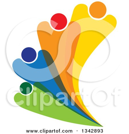 Clipart of a Colorful Abstract Family or Team Fanning - Royalty Free Vector Illustration by ColorMagic