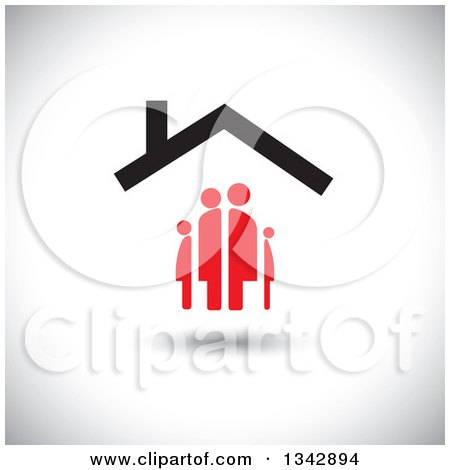 Clipart of a Red Family Under a House Roof, over Shading - Royalty Free Vector Illustration by ColorMagic