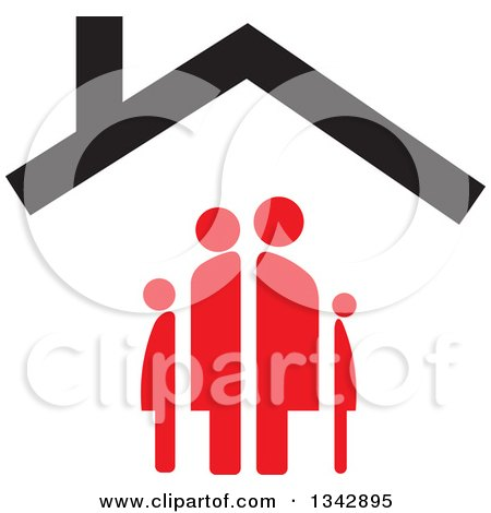 Clipart of a Red Family Under a House Roof - Royalty Free Vector Illustration by ColorMagic