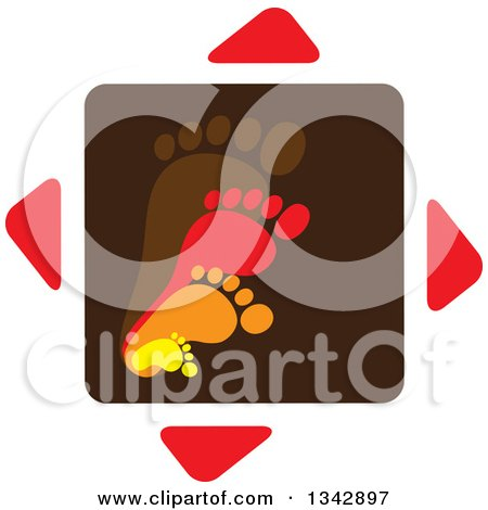Clipart of Layers of Parent and Children Foot Prints over Arrows - Royalty Free Vector Illustration by ColorMagic