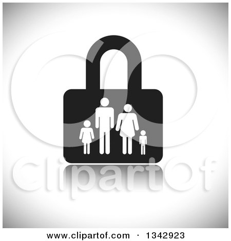 Clipart of a Black and White Padlock with a Family over Shading - Royalty Free Vector Illustration by ColorMagic