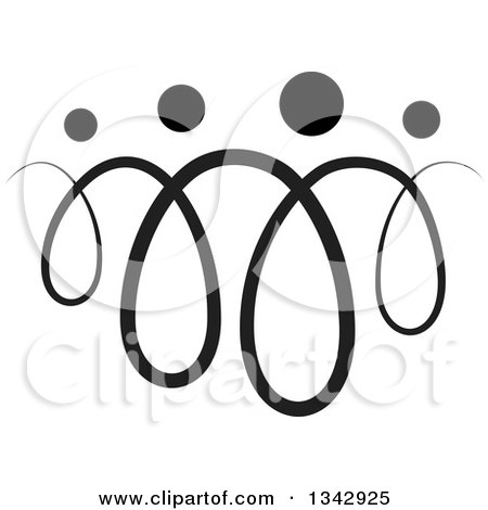 Clipart of a Black Abstract Swirl Family - Royalty Free Vector Illustration by ColorMagic
