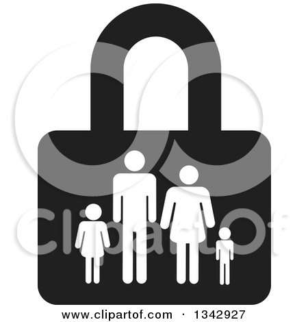 Clipart of a Black and White Padlock with a Family - Royalty Free Vector Illustration by ColorMagic