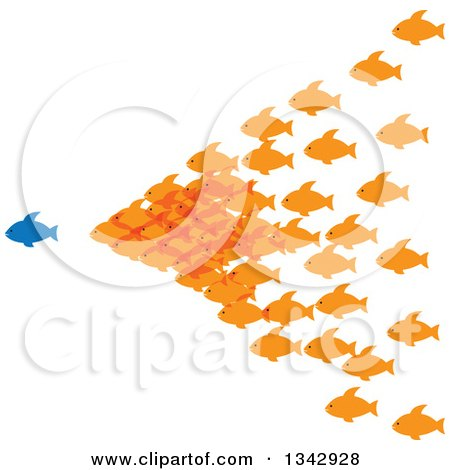 Clipart of a Group of Orange Fish Following a Blue Fish - Royalty Free Vector Illustration by ColorMagic