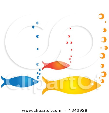 Clipart of a Group of Three Colorful Fish and Bubbles - Royalty Free Vector Illustration by ColorMagic