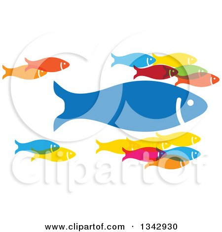Clipart of a Group of Colorful Schooling Fish with One Large Leader - Royalty Free Vector Illustration by ColorMagic