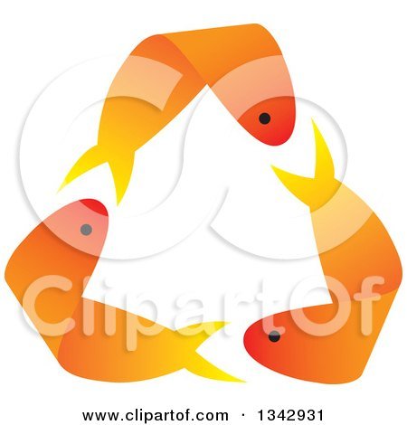 Clipart of Recycle Arrows Formed by Three Orange Gold Fish - Royalty Free Vector Illustration by ColorMagic