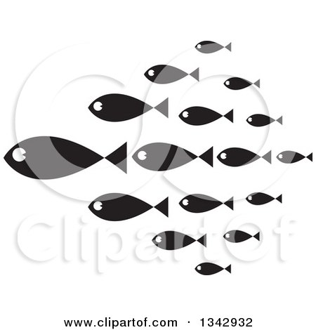 Clipart of a Group of Black and White Schooling Fish - Royalty Free Vector Illustration by ColorMagic