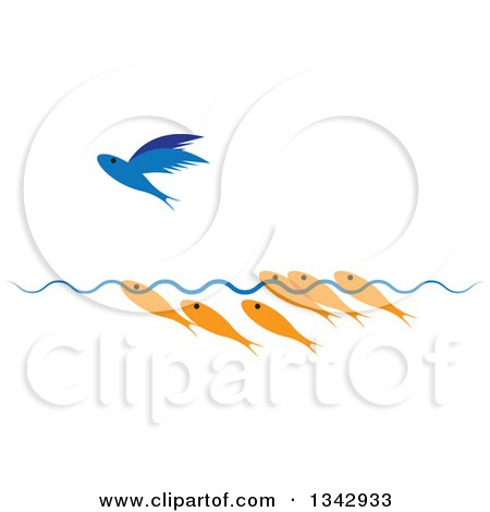 Clipart of Gold Fish Watching a Flying Blue Fish - Royalty Free Vector Illustration by ColorMagic