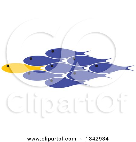 Clipart of a Yellow Fish Leading a Group of Blue Fish - Royalty Free Vector Illustration by ColorMagic
