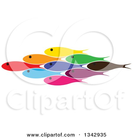 Clipart of a Group of Colorful Schooling Fish 2 - Royalty Free Vector Illustration by ColorMagic