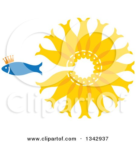 Clipart of a Crowned Blue Fish Swimming Away from a Circle of Gold Fish - Royalty Free Vector Illustration by ColorMagic