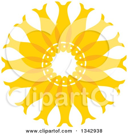 Clipart of a Circle of Yellow Fish - Royalty Free Vector Illustration by ColorMagic