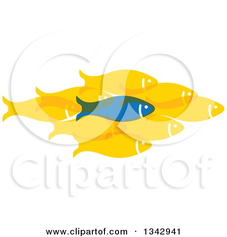 Clipart of a Blue Fish Standing out from a Group of Yellow Fish - Royalty Free Vector Illustration by ColorMagic