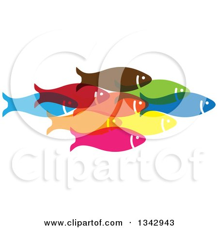 Clipart of a Group of Colorful Schooling Fish 3 - Royalty Free Vector Illustration by ColorMagic