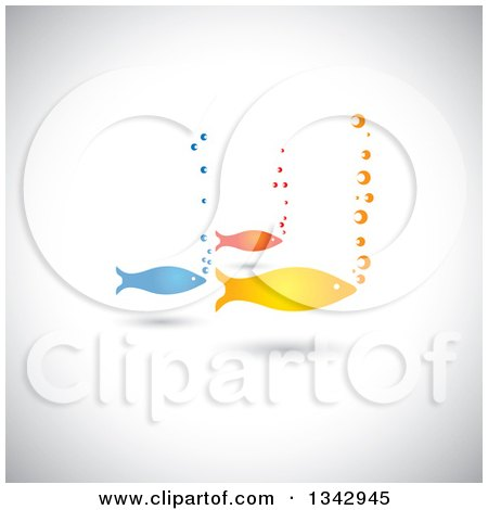 Clipart of a Group of Three Colorful Fish and Bubbles over Shading - Royalty Free Vector Illustration by ColorMagic