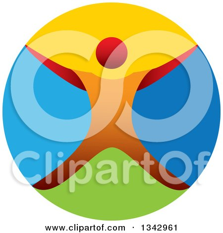 Clipart of a Colorful Circle and Orange Man Jumping or Cheering - Royalty Free Vector Illustration by ColorMagic