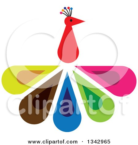 Clipart of a Peacock Bird with Colorful Feathers - Royalty Free Vector Illustration by ColorMagic