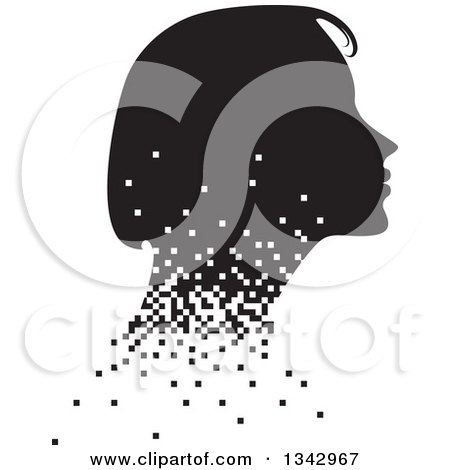 Clipart of a Black and White Profile Silhouette of a Woman's Face with Pixels - Royalty Free Vector Illustration by ColorMagic