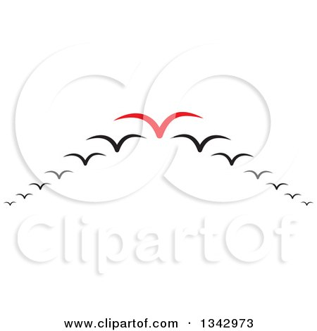 Clipart of a Red Seagull Leading Others in a V Flight Formation - Royalty Free Vector Illustration by ColorMagic